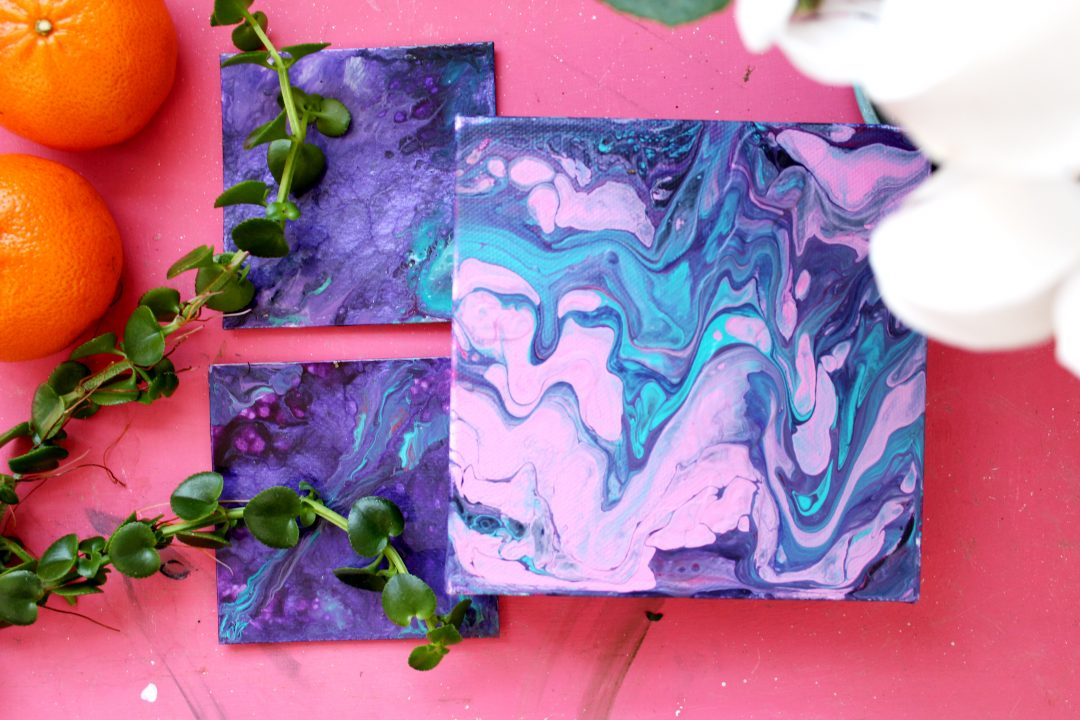 Small purple paintings with white flower